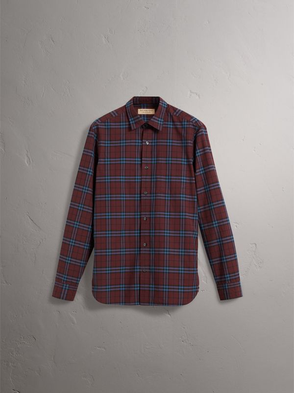Check Cotton Shirt in Crimson Red - Men | Burberry United Kingdom - cell image 3