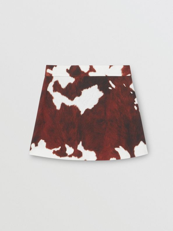 Cow Print Twill Skirt in Brown
