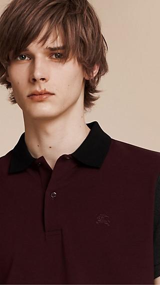 Polo en piqué de coton à motif color-block