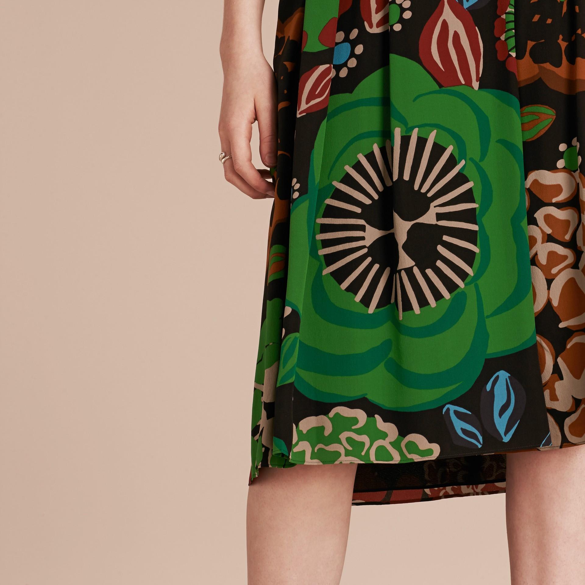 Deep navy Floral Print Silk Crepe De Chine Skirt - gallery image 5