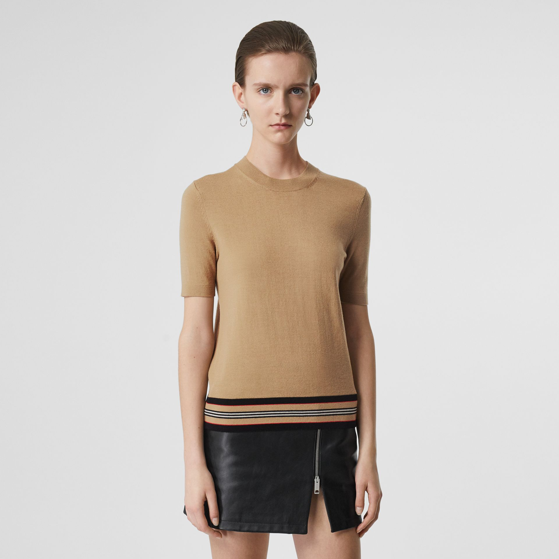 Short-sleeve Icon Stripe Detail Merino Wool Top in Camel - Women | Burberry - gallery image 4