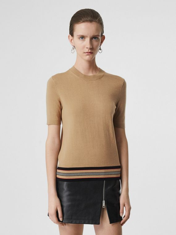 Short-sleeve Icon Stripe Detail Merino Wool Top in Camel