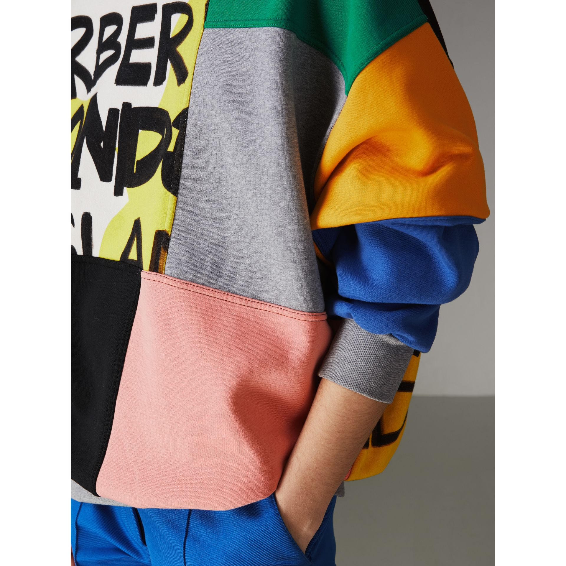 Graffiti Print Panel Cotton Blend Sweatshirt in Multicolour - Women | Burberry - gallery image 1