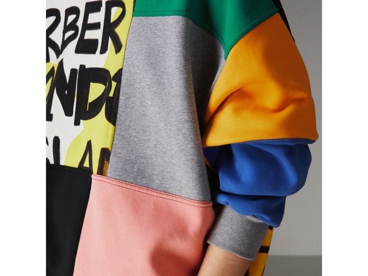 Graffiti Print Panel Cotton Blend Sweatshirt in Multicolour - Women | Burberry Singapore - cell image 1
