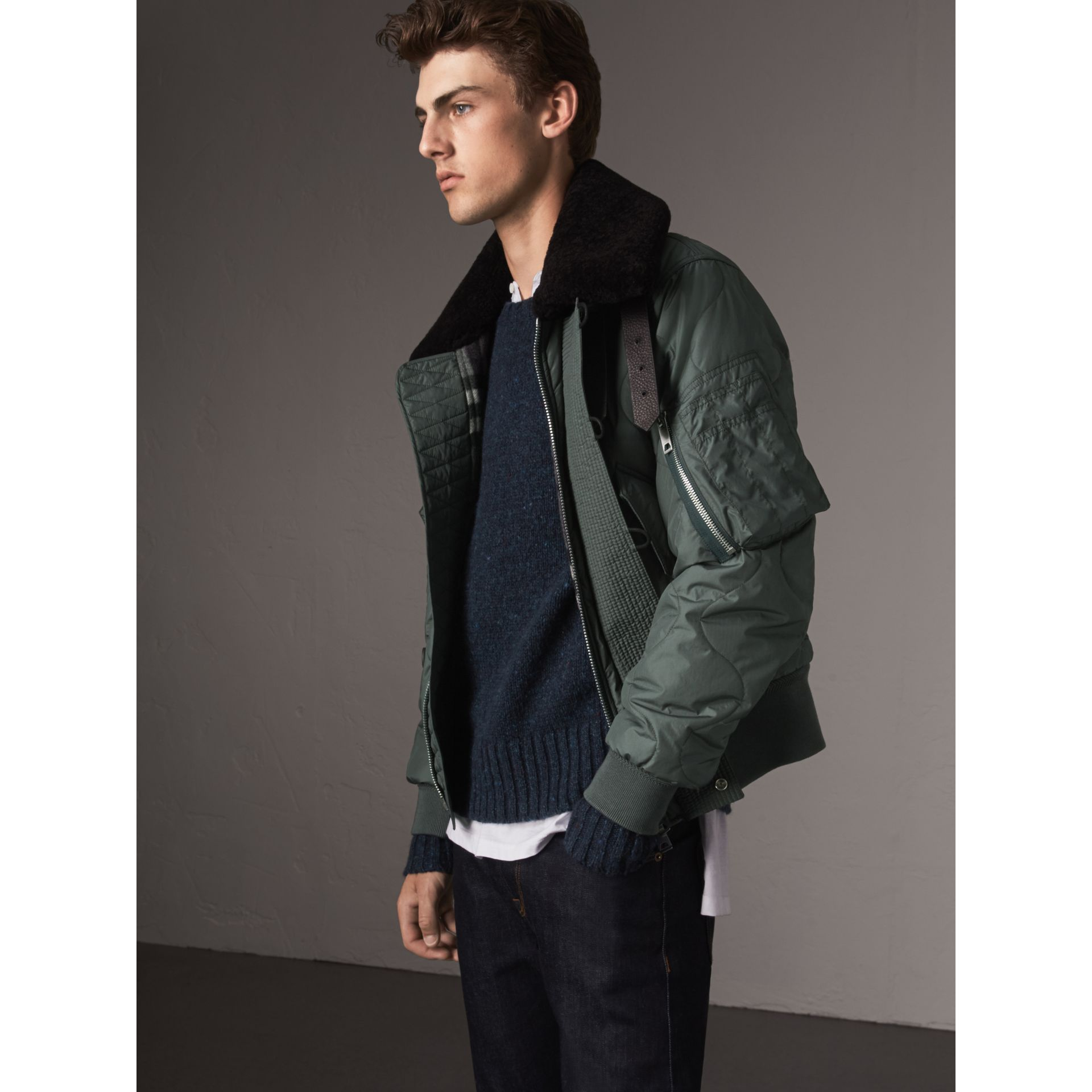 Shearling Collar Quilted Bomber Jacket in Smokey Green - Men | Burberry - gallery image 1