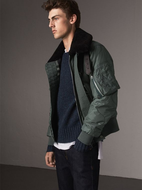 Shearling Collar Quilted Bomber Jacket in Smokey Green