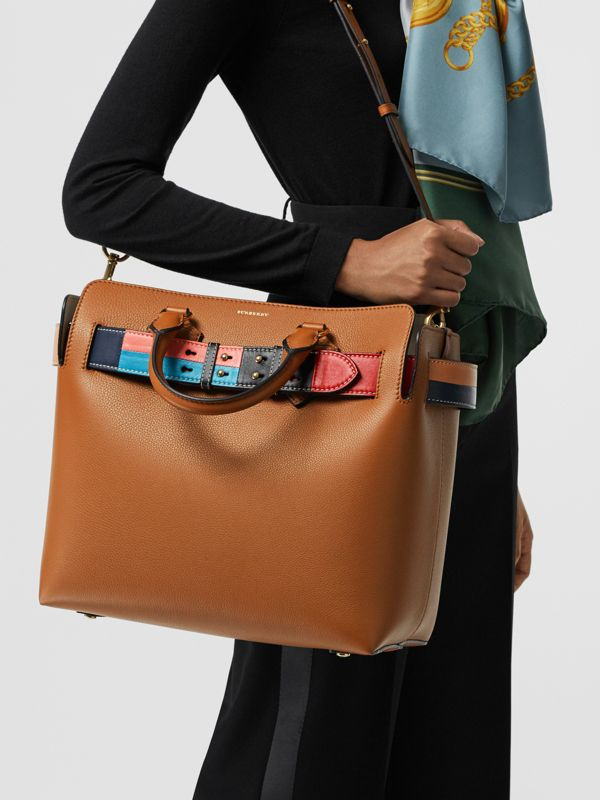The Medium Leather Colour Block Detail Belt Bag in Cognac - Women | Burberry - cell image 3