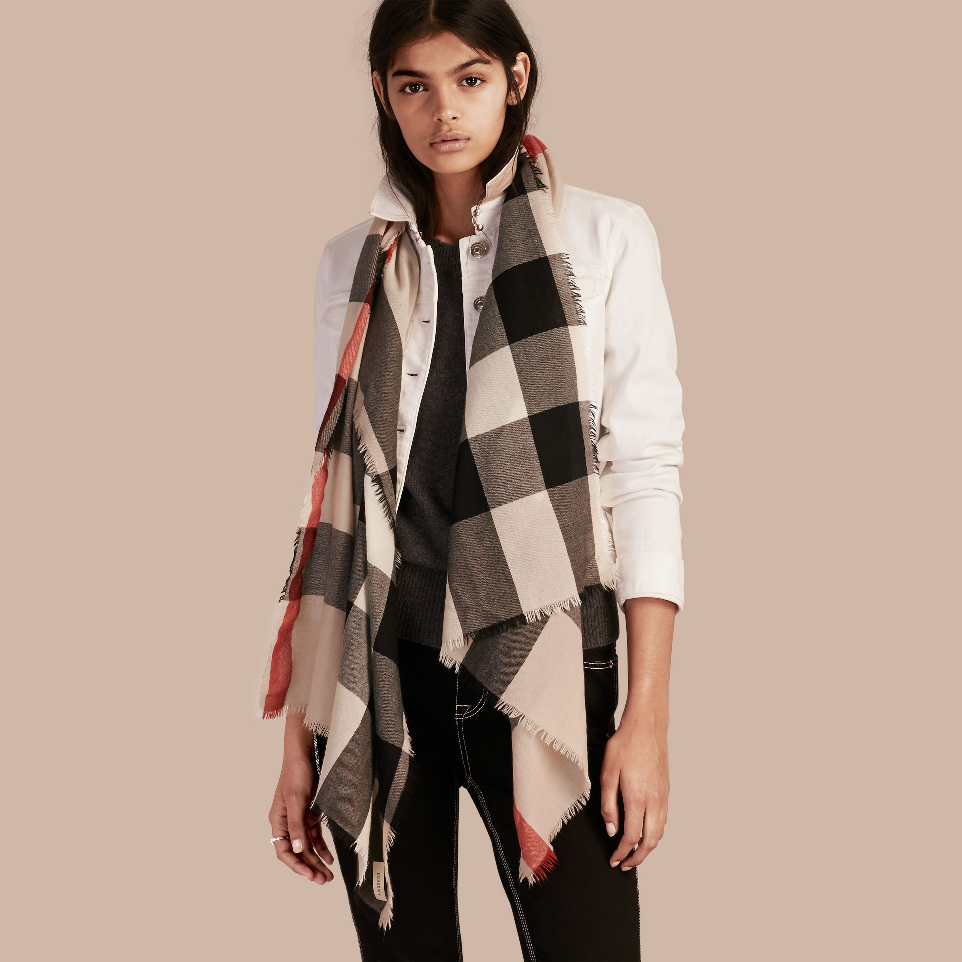 The Lightweight Cashmere Scarf in Check Stone - gallery image 3