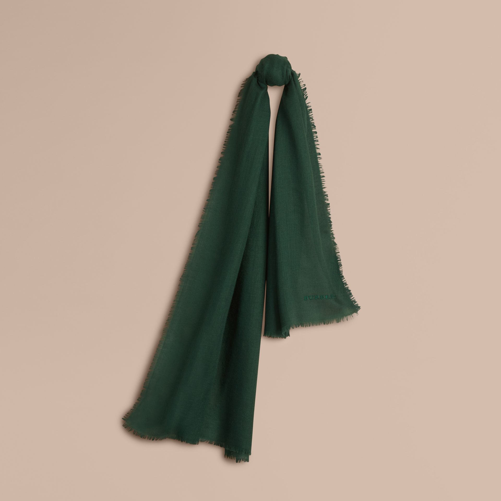 The Lightweight Cashmere Scarf in Dark Forest Green - gallery image 6