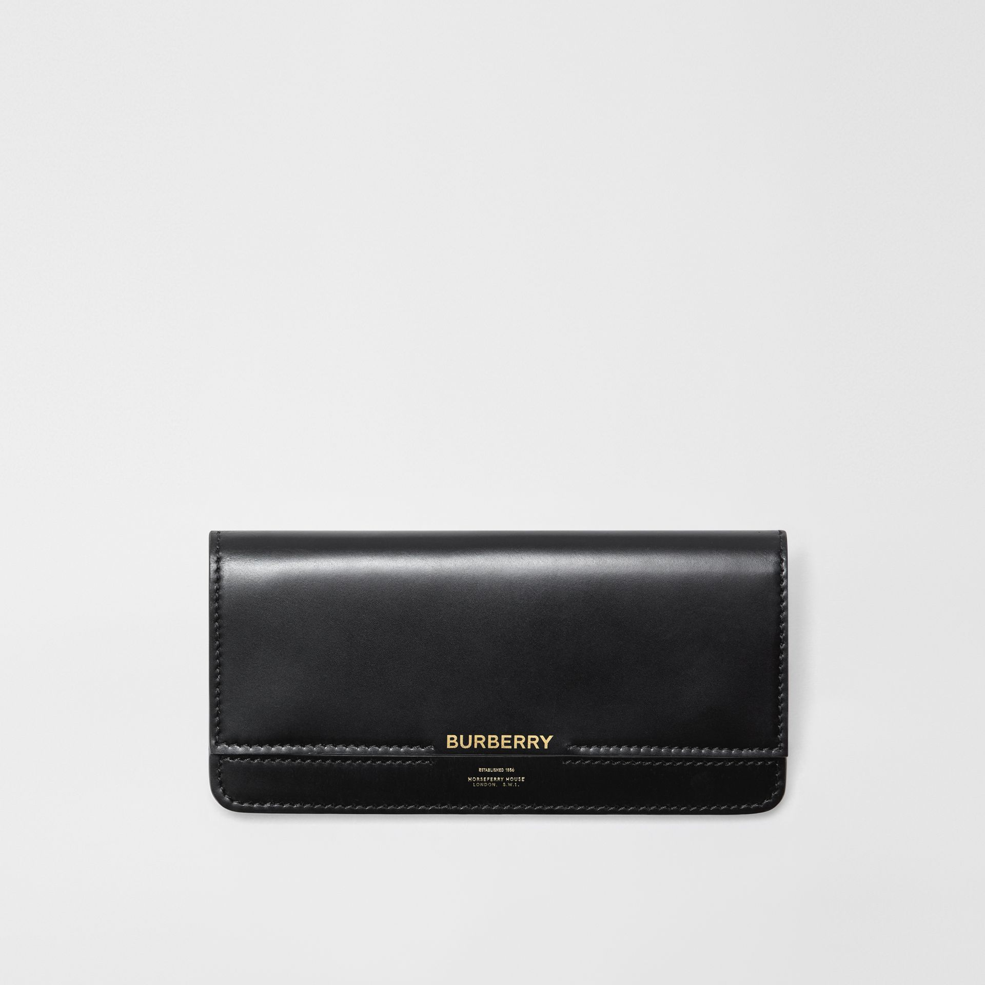 Horseferry Embossed Leather Continental Wallet in Black - Women | Burberry United Kingdom - gallery image 0