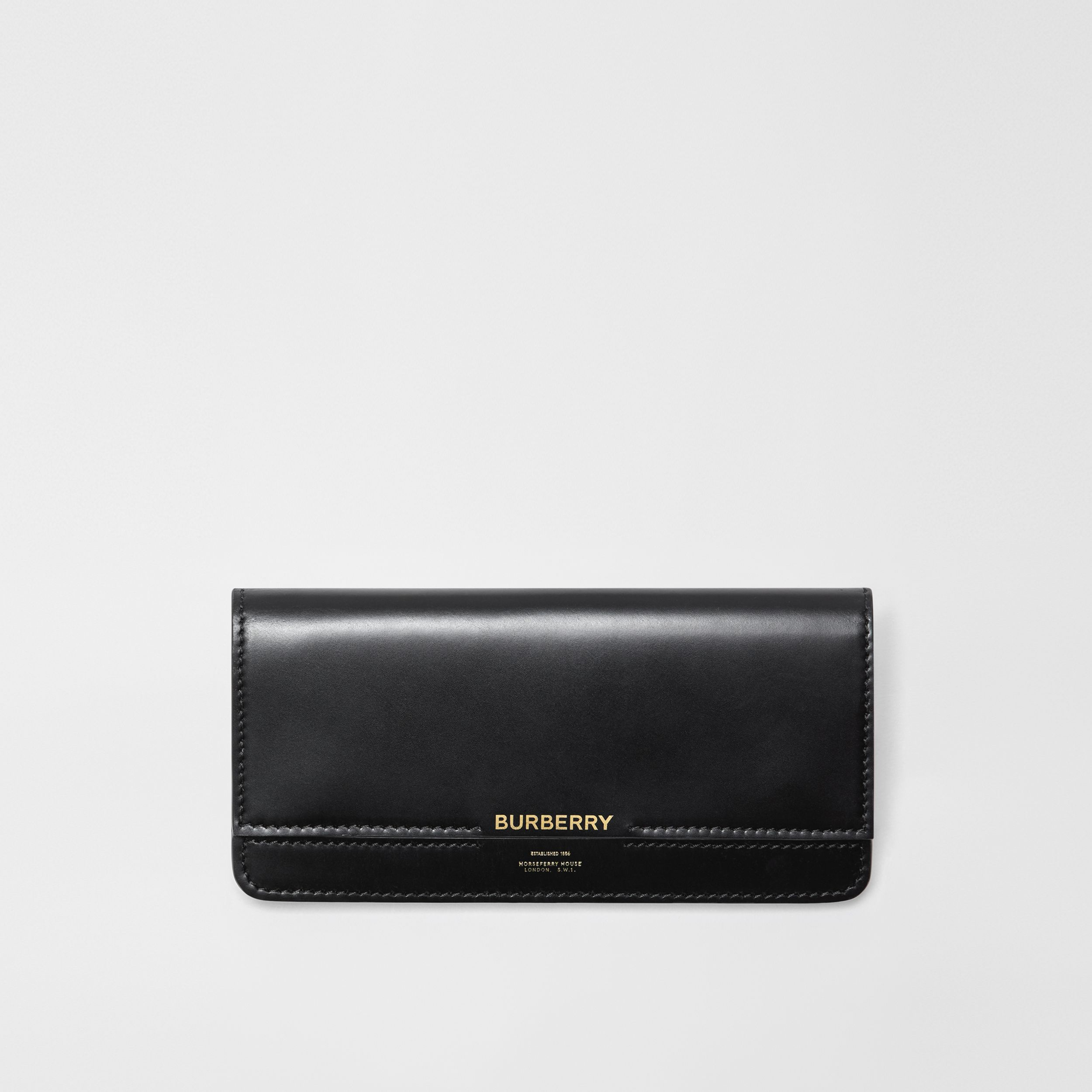 Horseferry Embossed Leather Continental Wallet in Black - Women | Burberry - 1