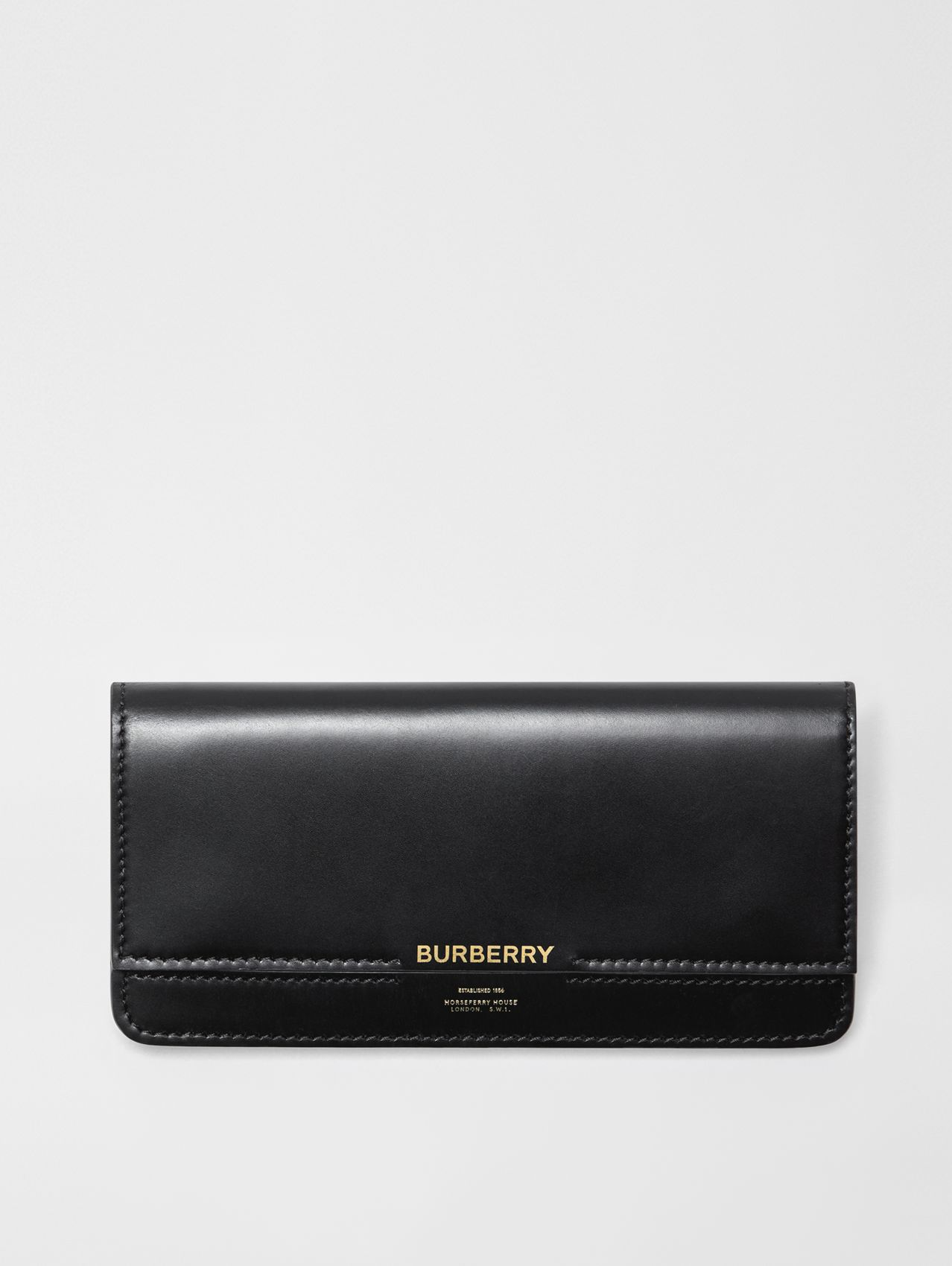Horseferry Embossed Leather Continental Wallet in Black