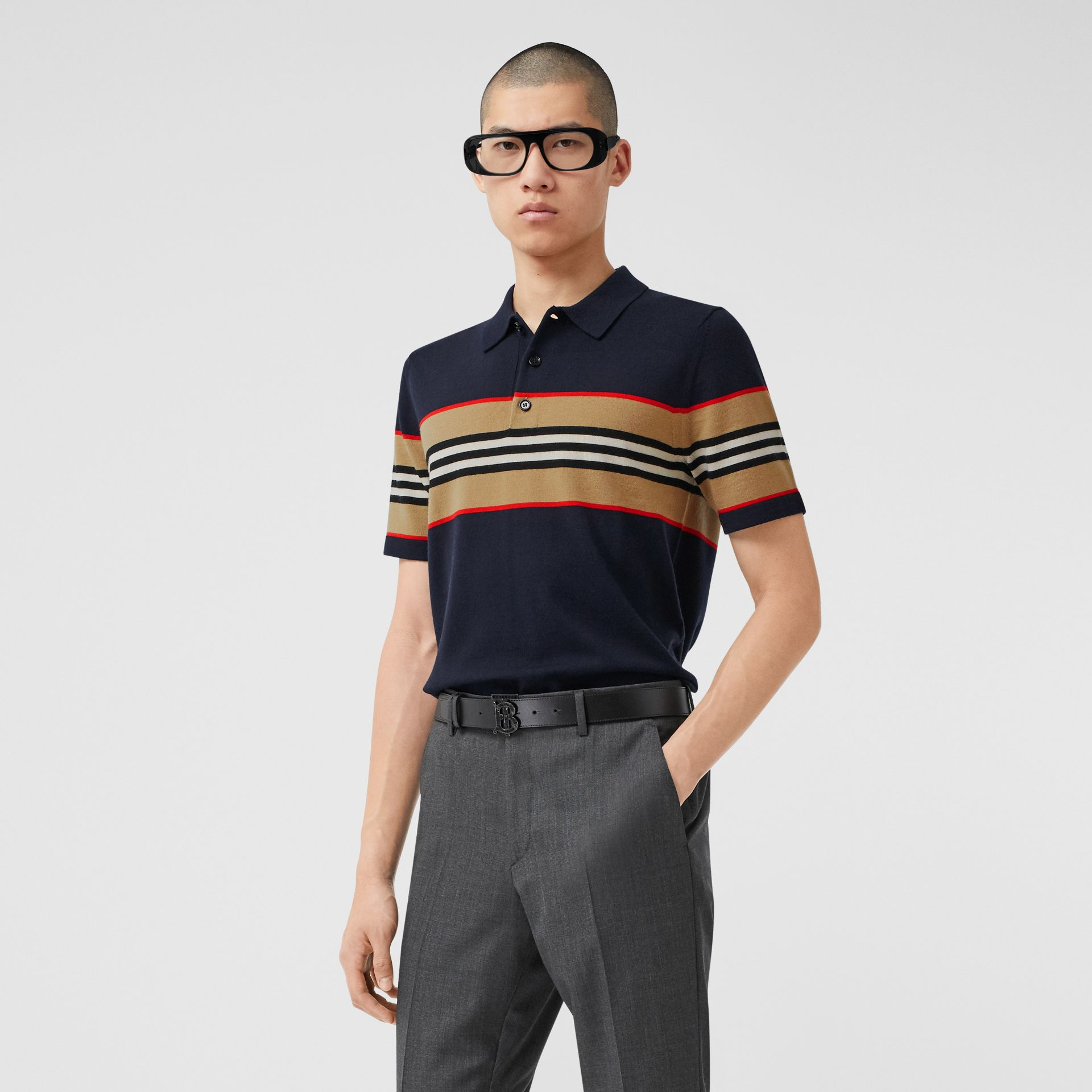 Icon Stripe Detail Merino Wool Polo Shirt in Navy - Men | Burberry - gallery image 0