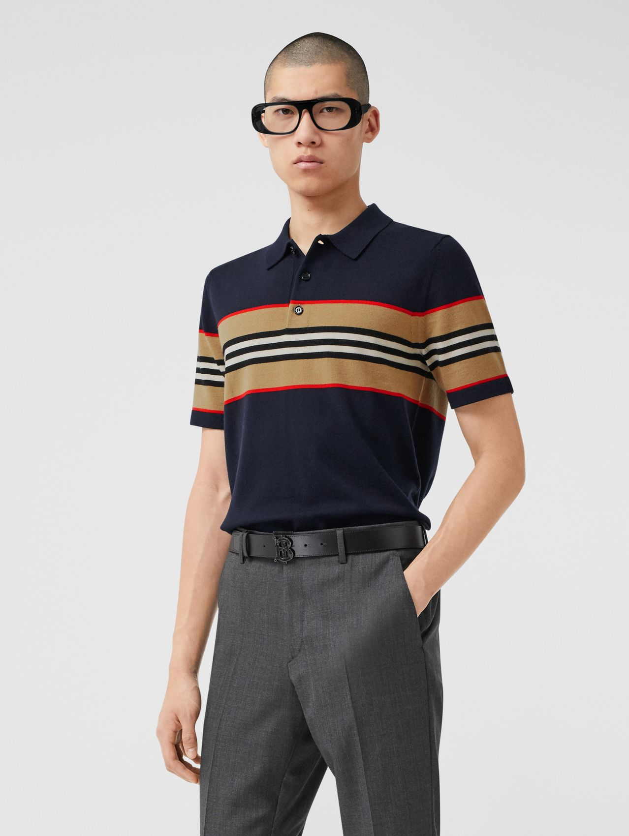 Icon Stripe Detail Merino Wool Polo Shirt in Navy