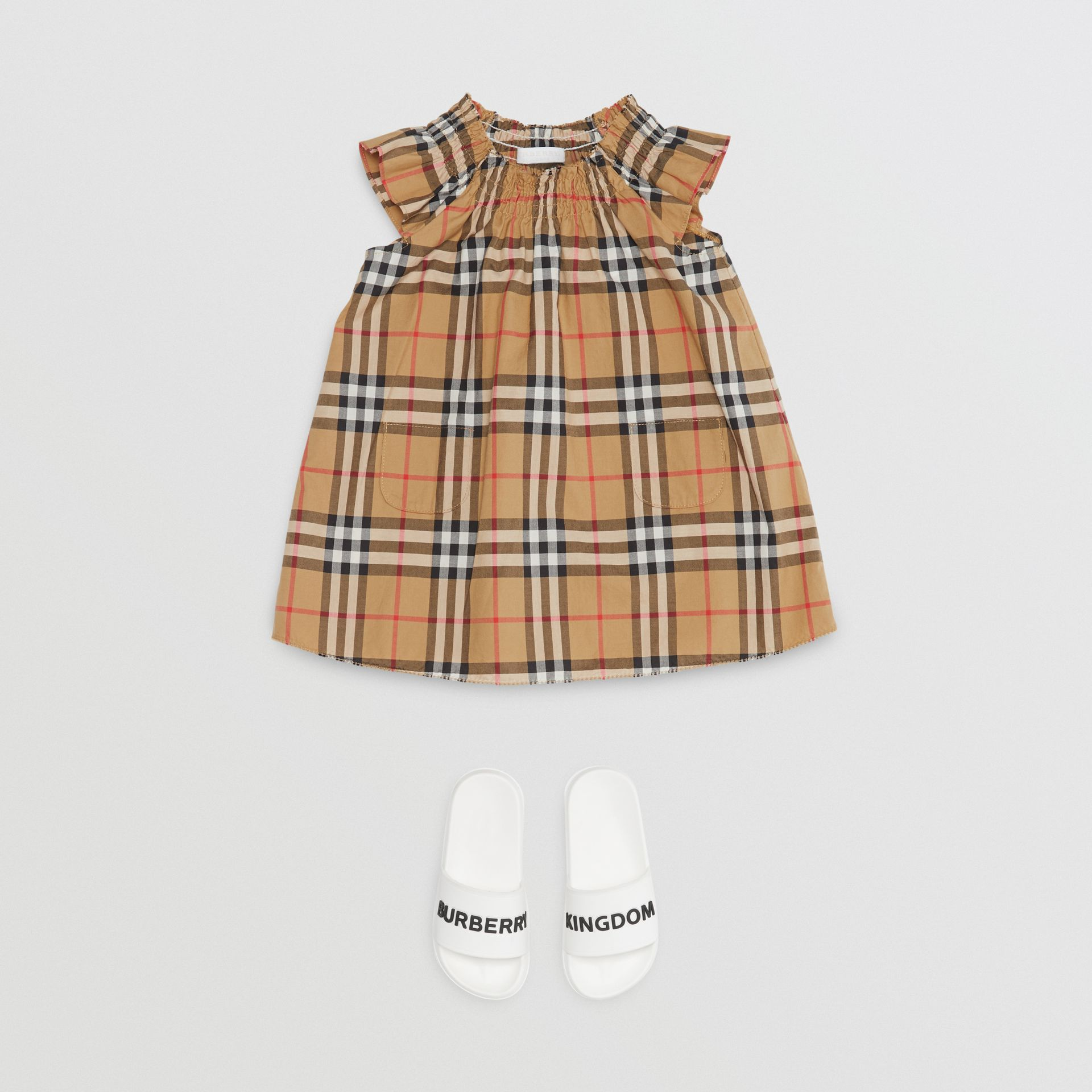 Smocked Vintage Check Cotton Dress in Antique Yellow - Children | Burberry - gallery image 2