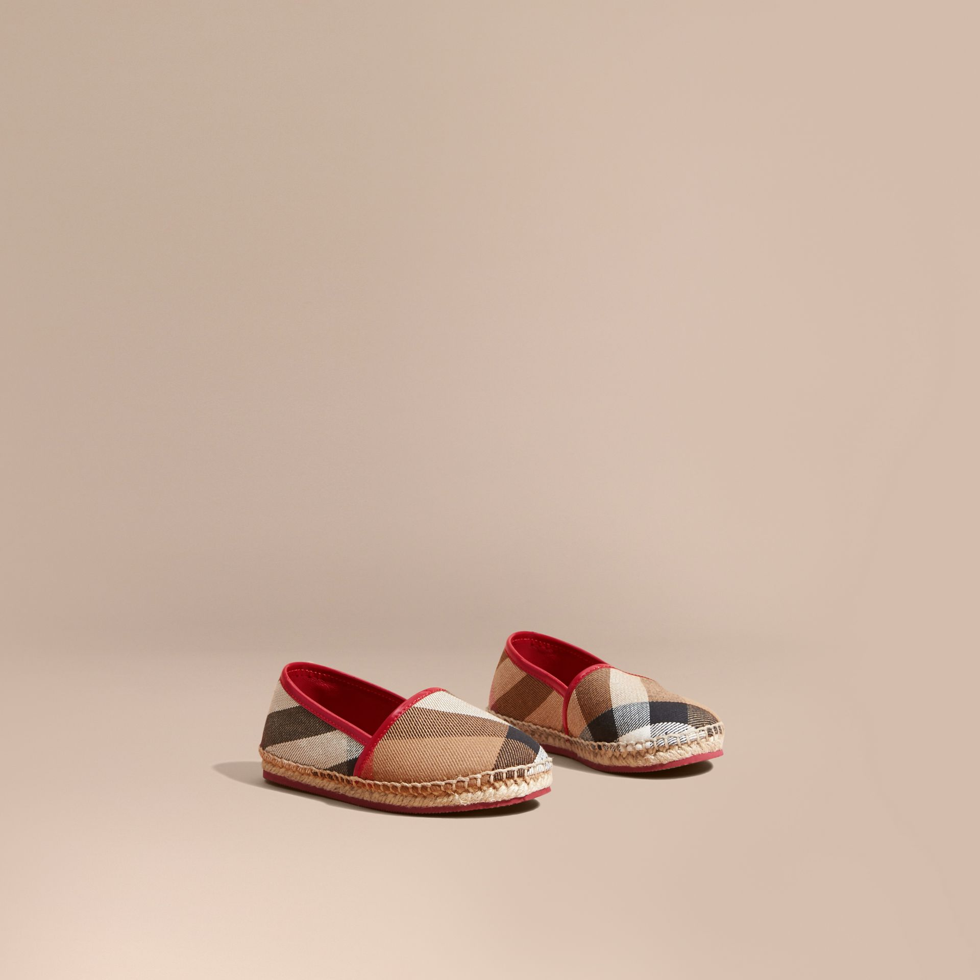Leather and House Check Espadrilles Berry Pink - gallery image 1