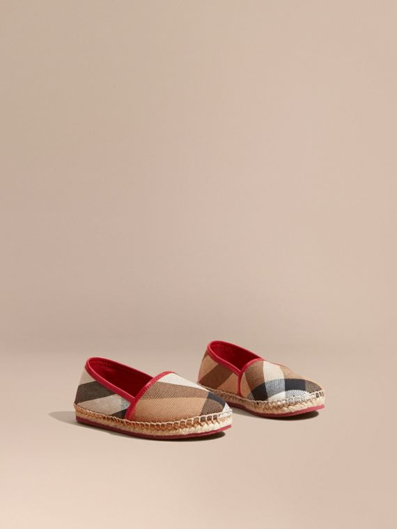 Leather and House Check Espadrilles Berry Pink