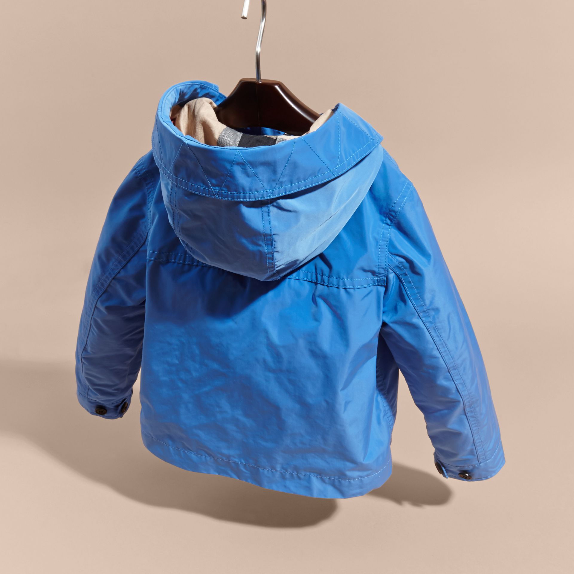 Hooded Packaway Technical Jacket Bright Hydrangea Blue - gallery image 4