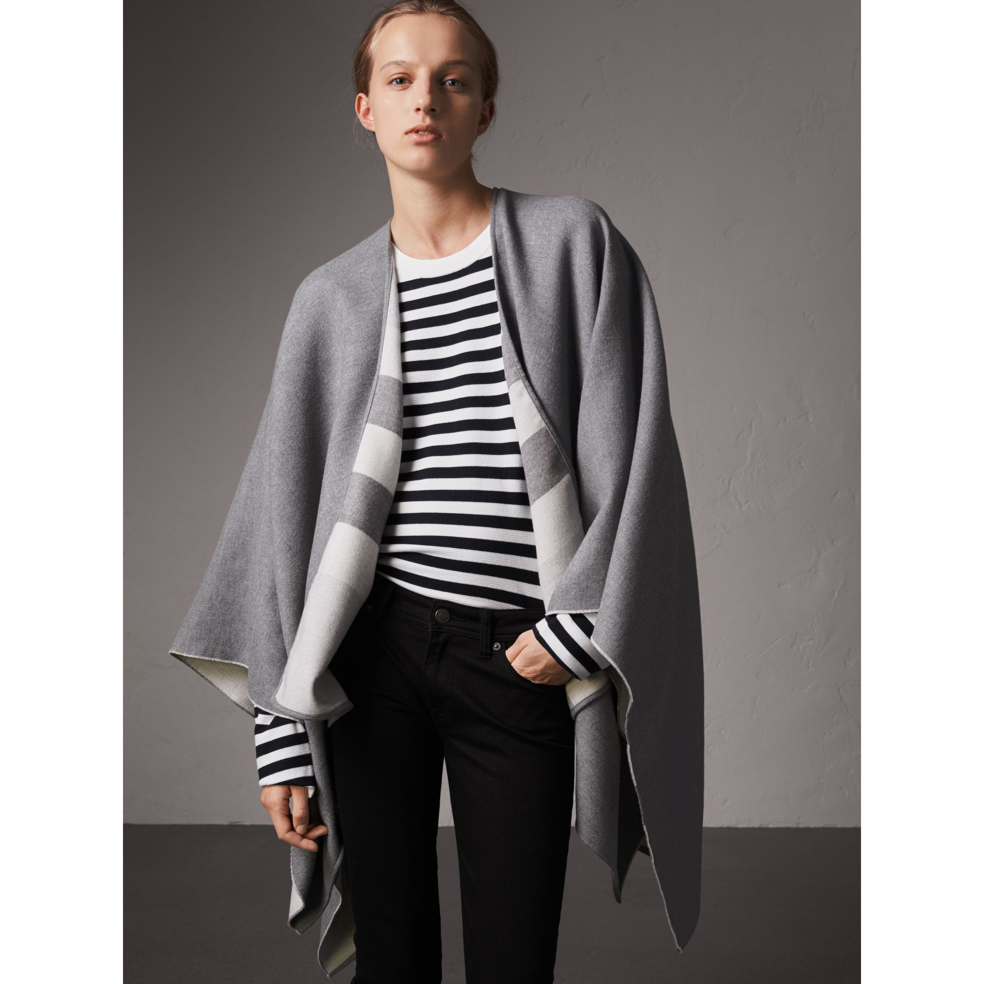 Reversible Check Merino Wool Poncho in Light Grey - Women | Burberry - gallery image 1