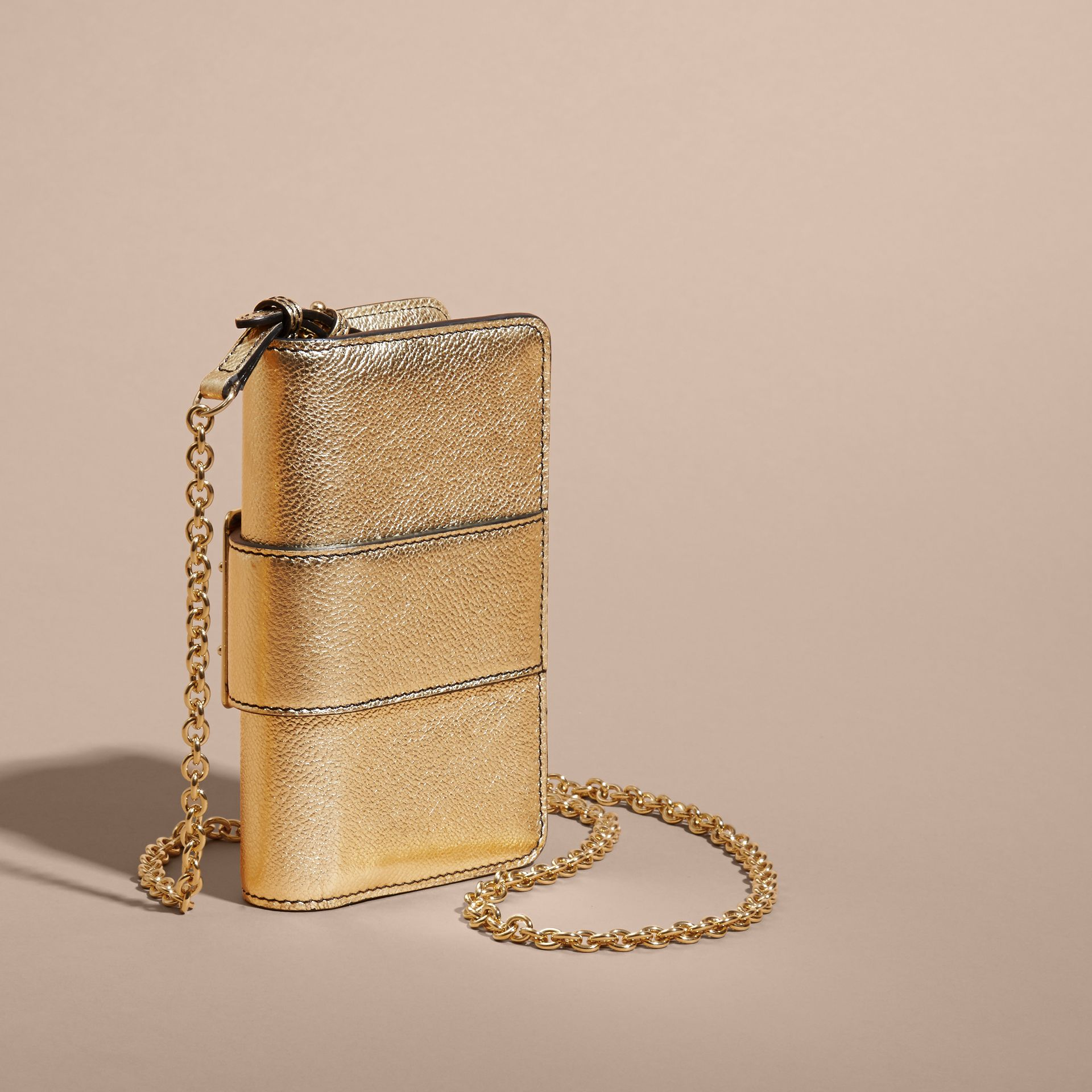 Gold The Mini Buckle Bag in Metallic Grainy Leather Gold - gallery image 5