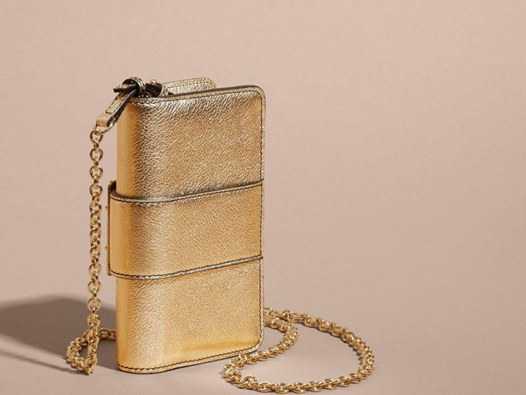 Gold The Mini Buckle Bag in Metallic Grainy Leather Gold - cell image 4