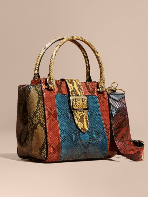 The Medium Buckle Tote in Colour-block Python Mineral Blue