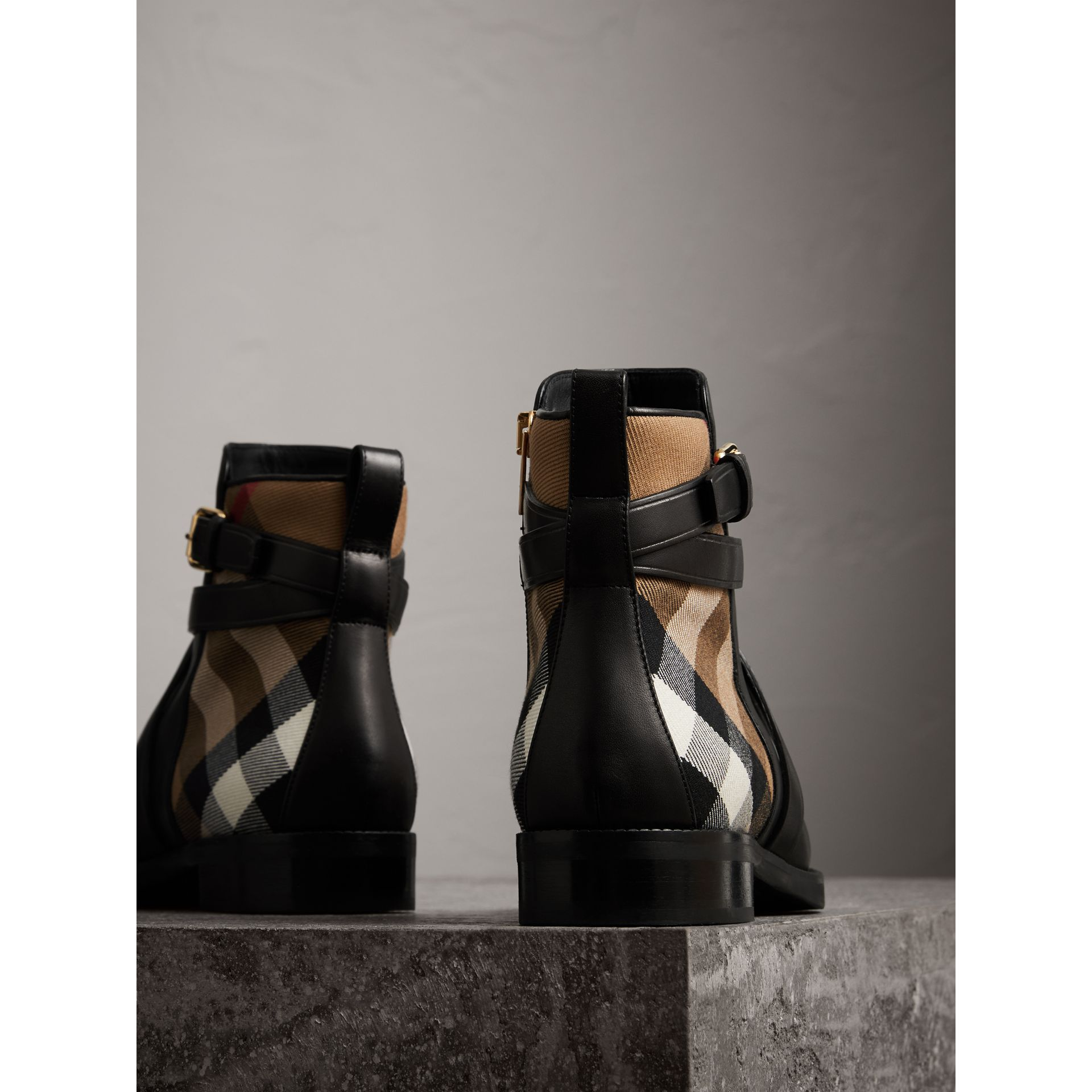 Strap Detail House Check and Leather Ankle Boots in Black - Women | Burberry Hong Kong - gallery image 2
