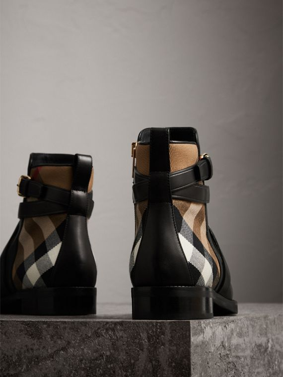 Strap Detail House Check and Leather Ankle Boots in Black - Women | Burberry Hong Kong - cell image 2