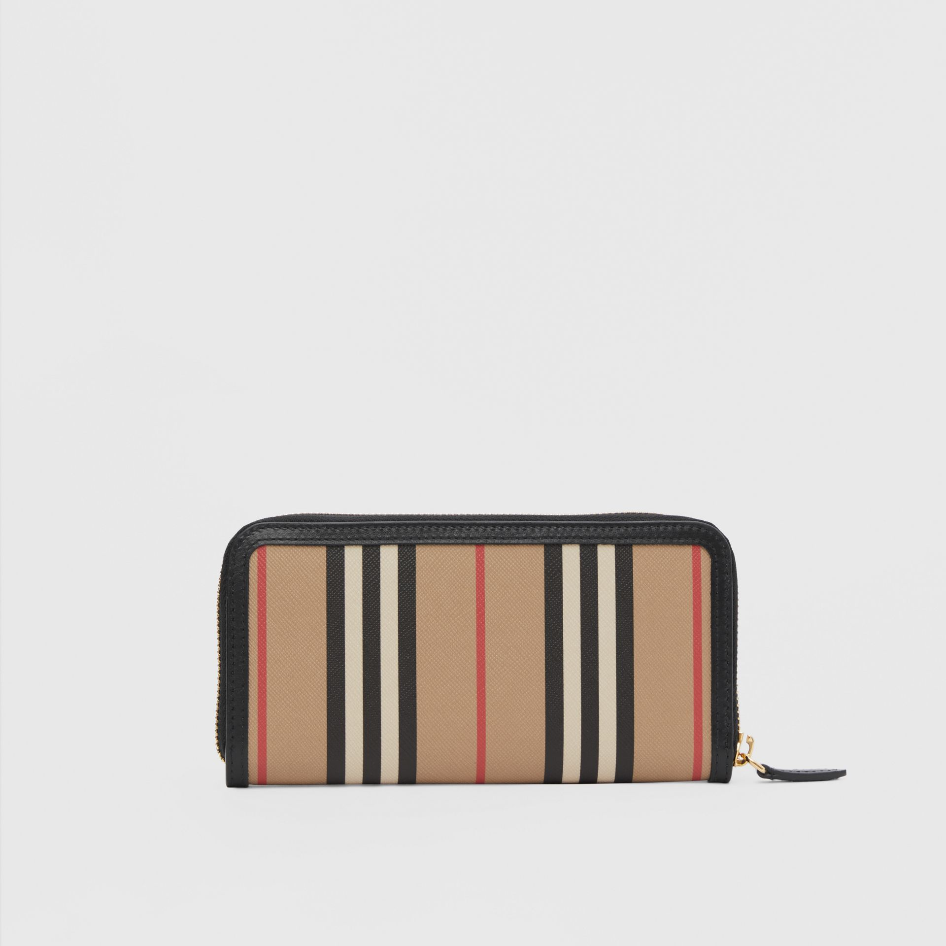 Icon Stripe E-canvas and Leather Ziparound Wallet in Archive Beige - Women | Burberry - gallery image 4