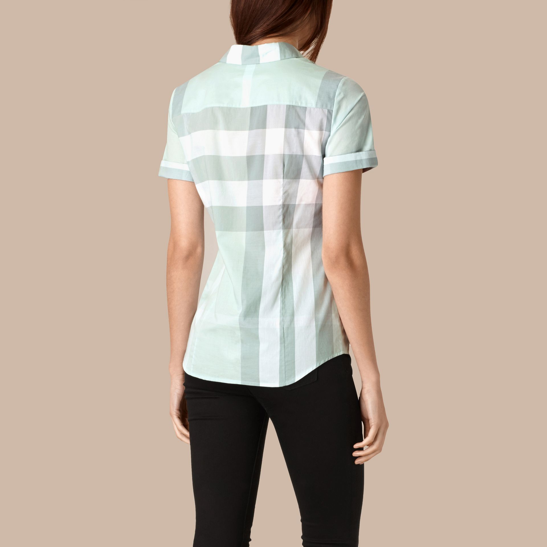 Powder blue Short-sleeved Check Cotton Shirt Powder Blue - gallery image 3