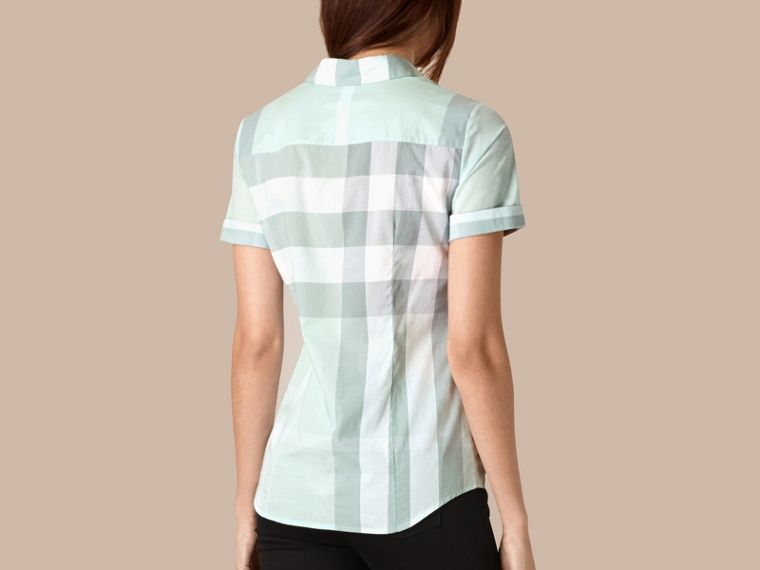 Powder blue Short-sleeved Check Cotton Shirt Powder Blue - cell image 2