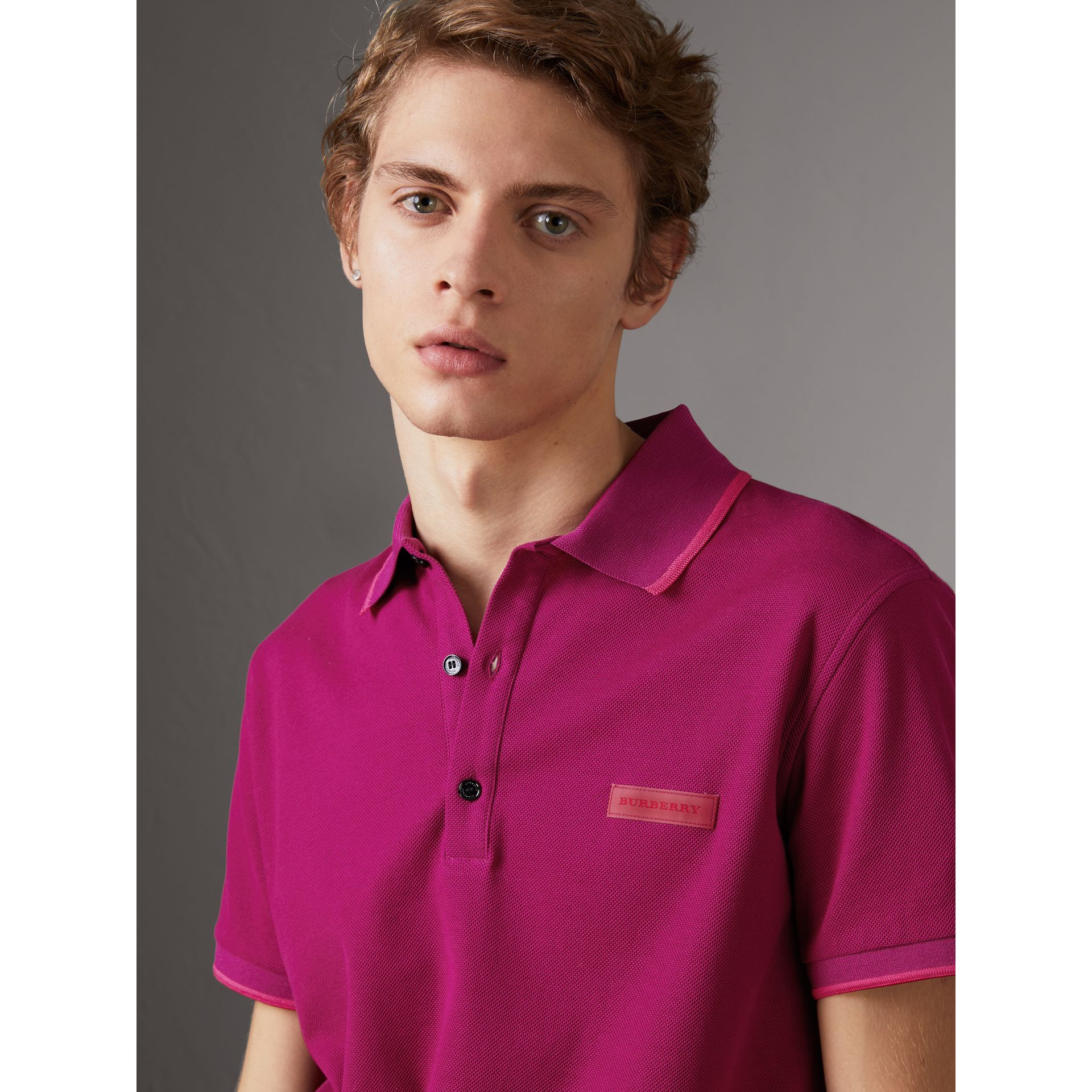 Cotton Piqué Polo Shirt in Bright Fuchsia - Men | Burberry - gallery image 1