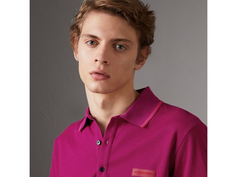 Cotton Piqué Polo Shirt in Bright Fuchsia - Men | Burberry - cell image 1