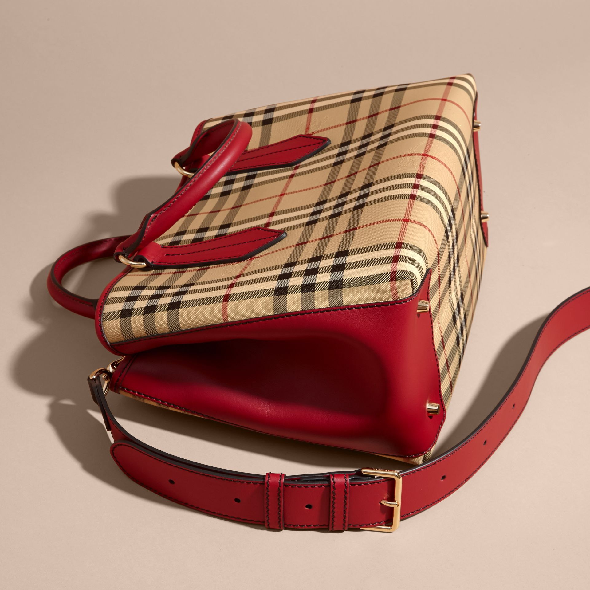Leather Trim Horseferry Check Tote Honey/parade Red - gallery image 5