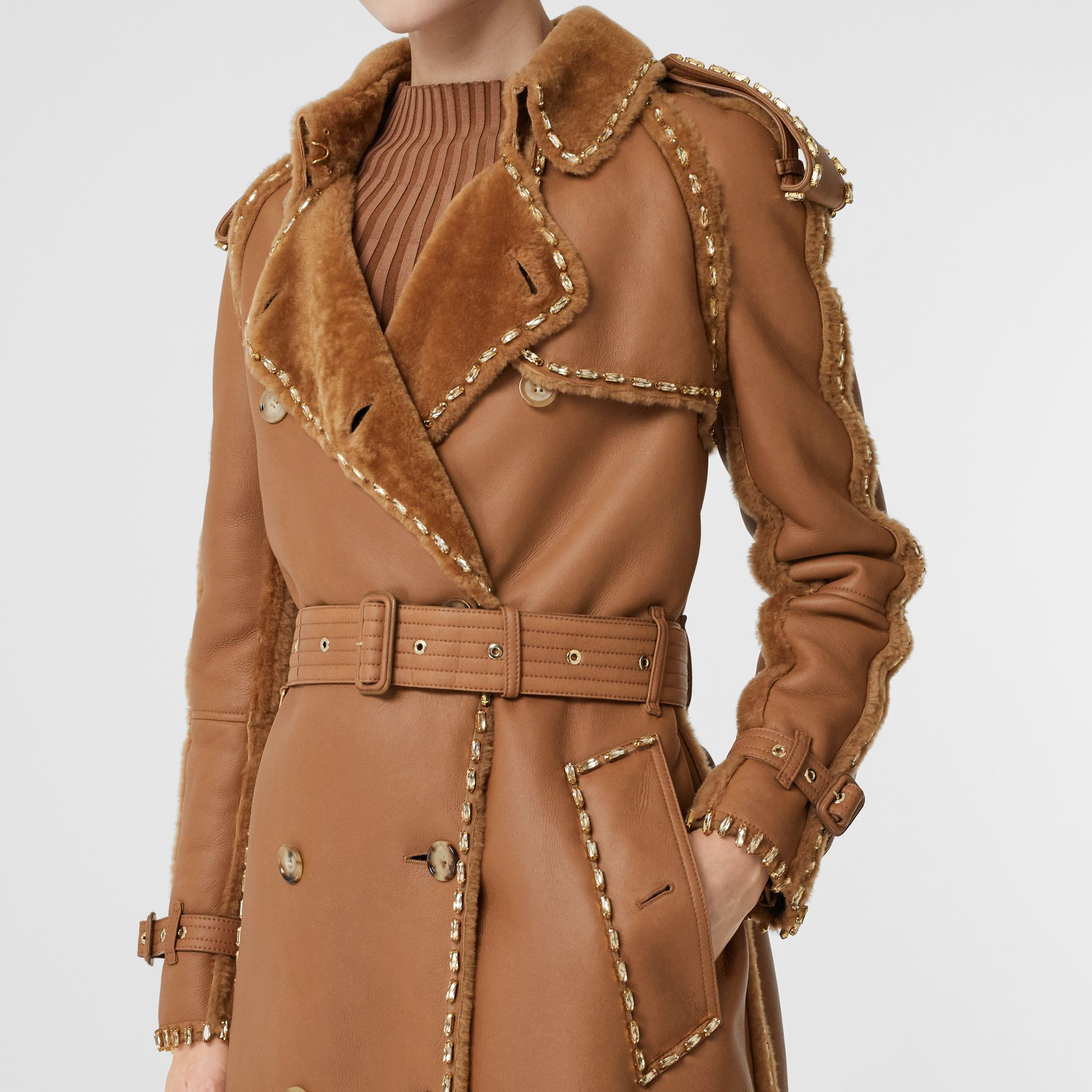 Embellished Shearling Trench Coat in Warm Camel - Women | Burberry - gallery image 4