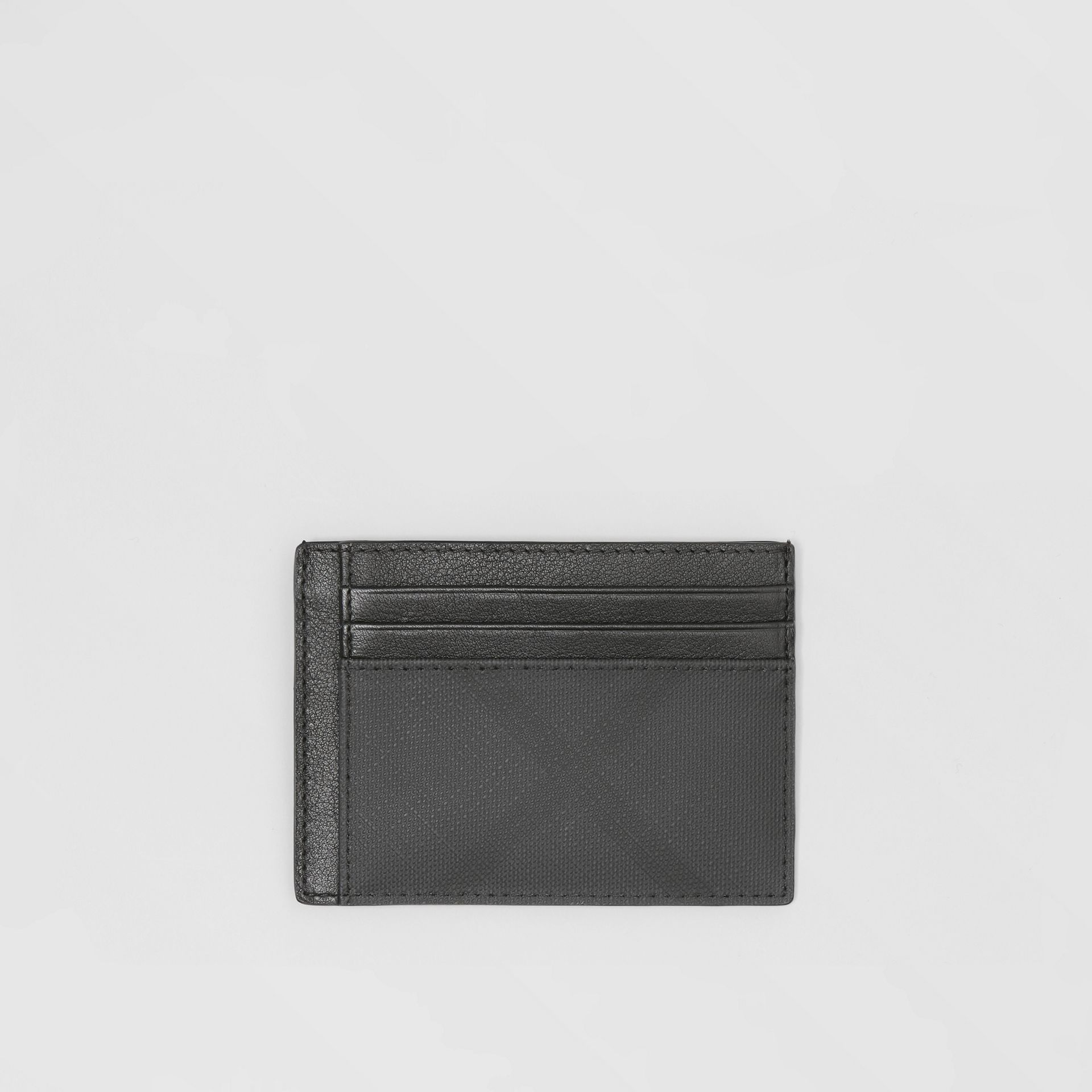 London Check and Leather Card Case in Dark Charcoal - Men | Burberry - gallery image 0