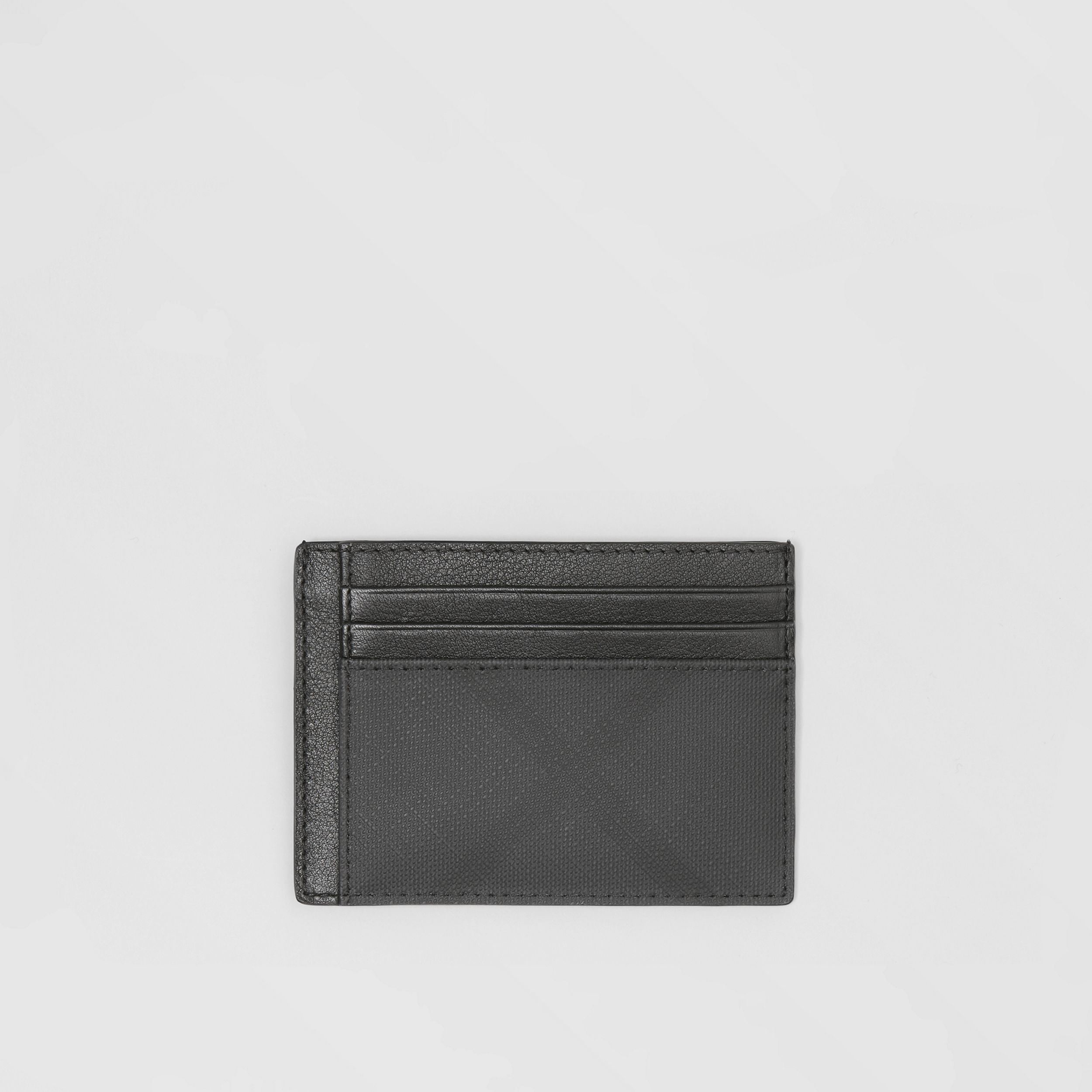 London Check and Leather Card Case in Dark Charcoal - Men | Burberry United Kingdom - 1