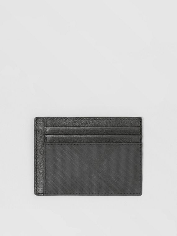 Porte-cartes London check et cuir (Anthracite Sombre)