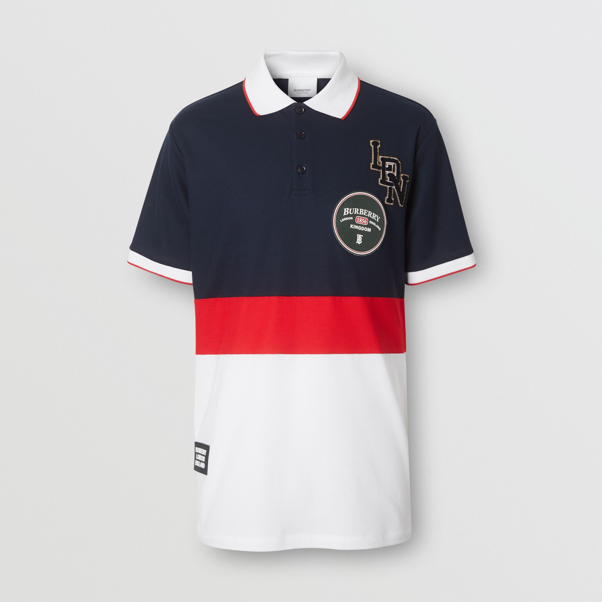 Logo Graphic Cotton Piqué Polo Shirt in Navy - Men | Burberry United Kingdom - gallery image 3