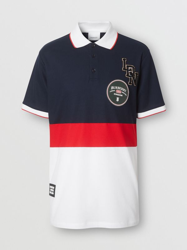 Logo Graphic Cotton Piqué Polo Shirt in Navy - Men | Burberry United Kingdom - cell image 3