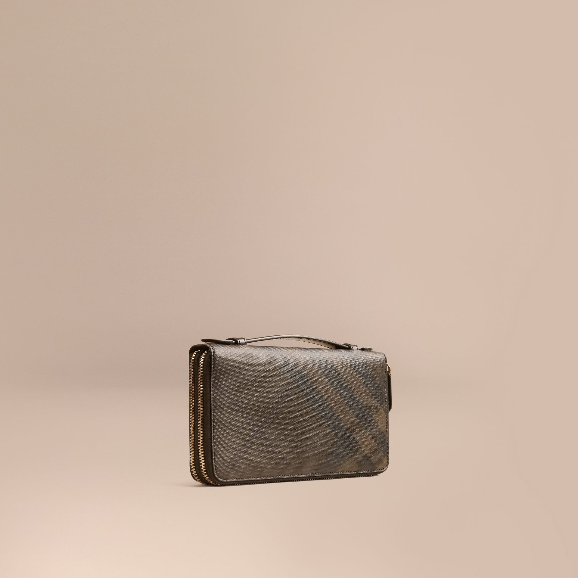 London Check Travel Wallet in Chocolate/black - Men | Burberry Hong Kong - gallery image 1