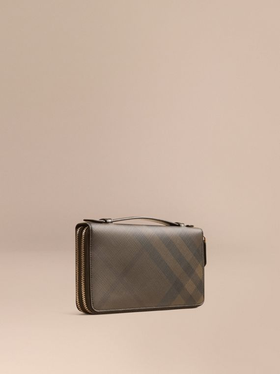 London Check Travel Wallet in Chocolate/black - Men | Burberry Australia