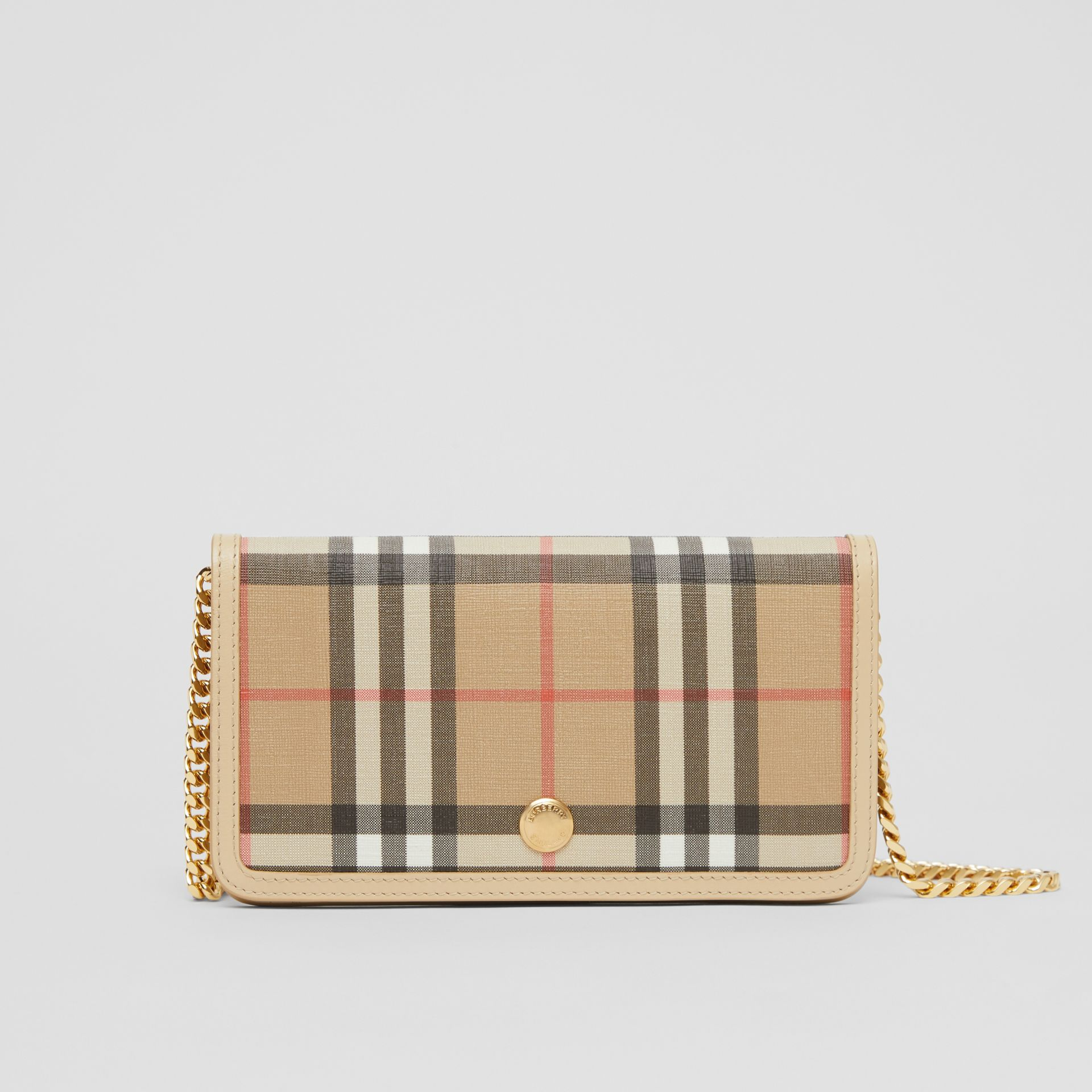 Vintage Check E-canvas Phone Wallet with Strap in Beige - Women | Burberry - gallery image 0