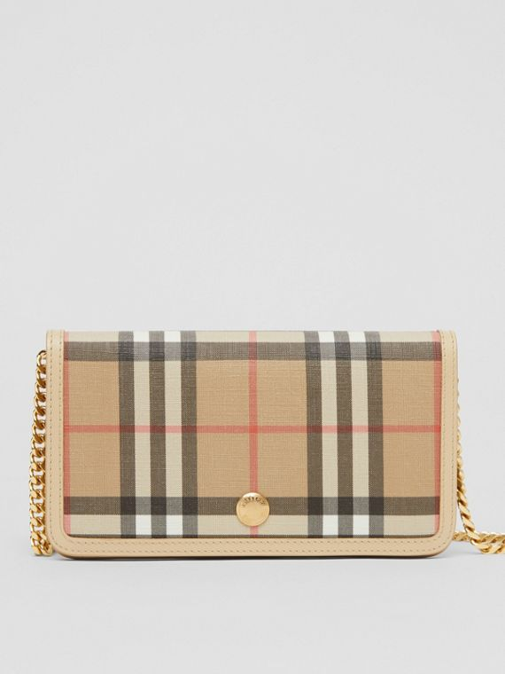 Vintage Check E-canvas Phone Wallet with Strap in Beige
