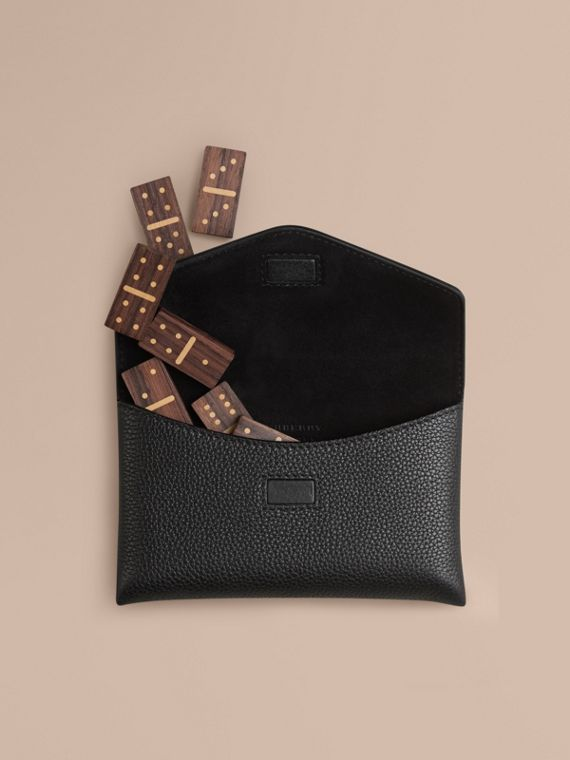 Wooden Domino Set with Grainy Leather Case in Black | Burberry