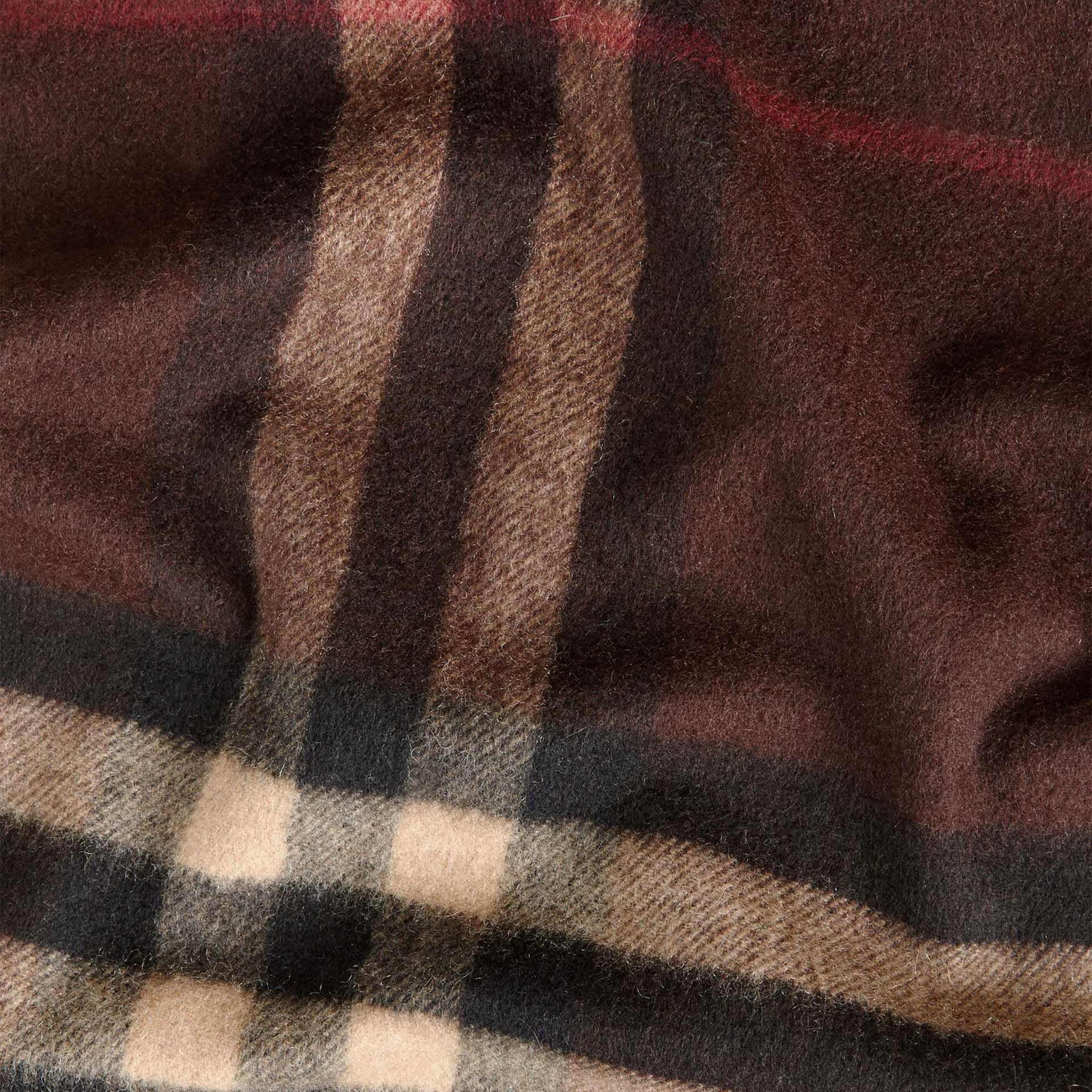 Dark chestnut brown check The Classic Cashmere Scarf in Check Dark Chestnut Brown - gallery image 5