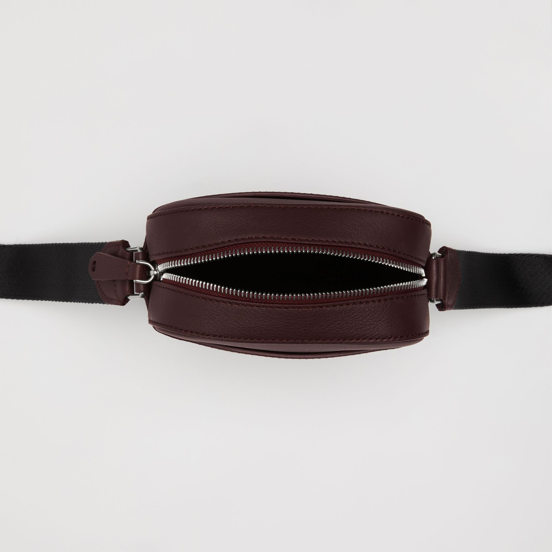 Small Embossed Crest Leather Crossbody Bag in Oxblood - Men | Burberry - gallery image 5