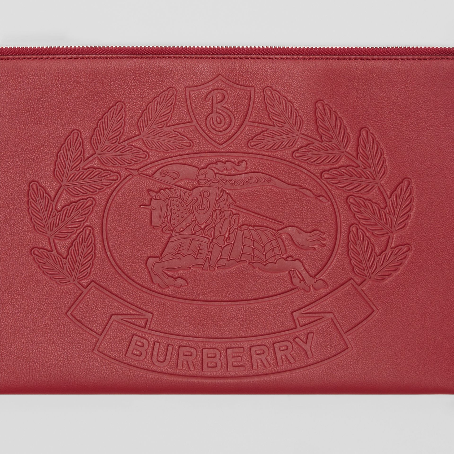 Embossed Crest Leather Zip Pouch in Crimson - Men | Burberry - gallery image 1
