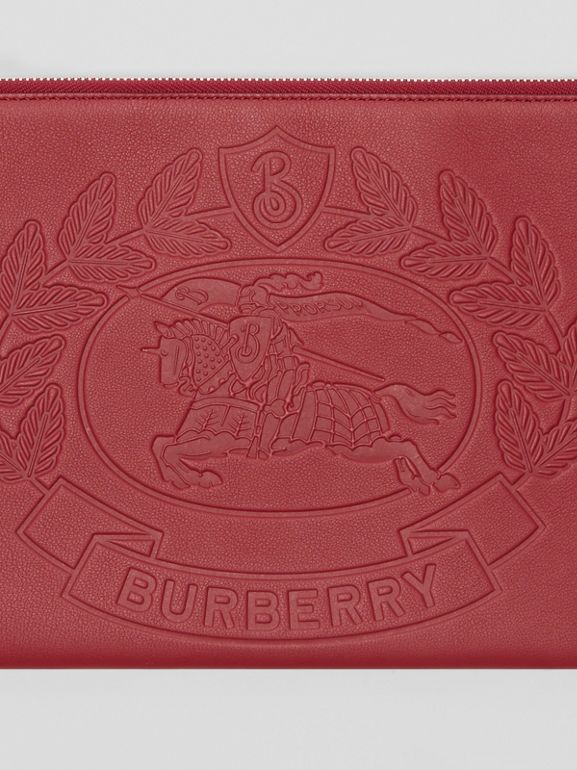 Embossed Crest Leather Zip Pouch in Crimson - Men | Burberry - cell image 1