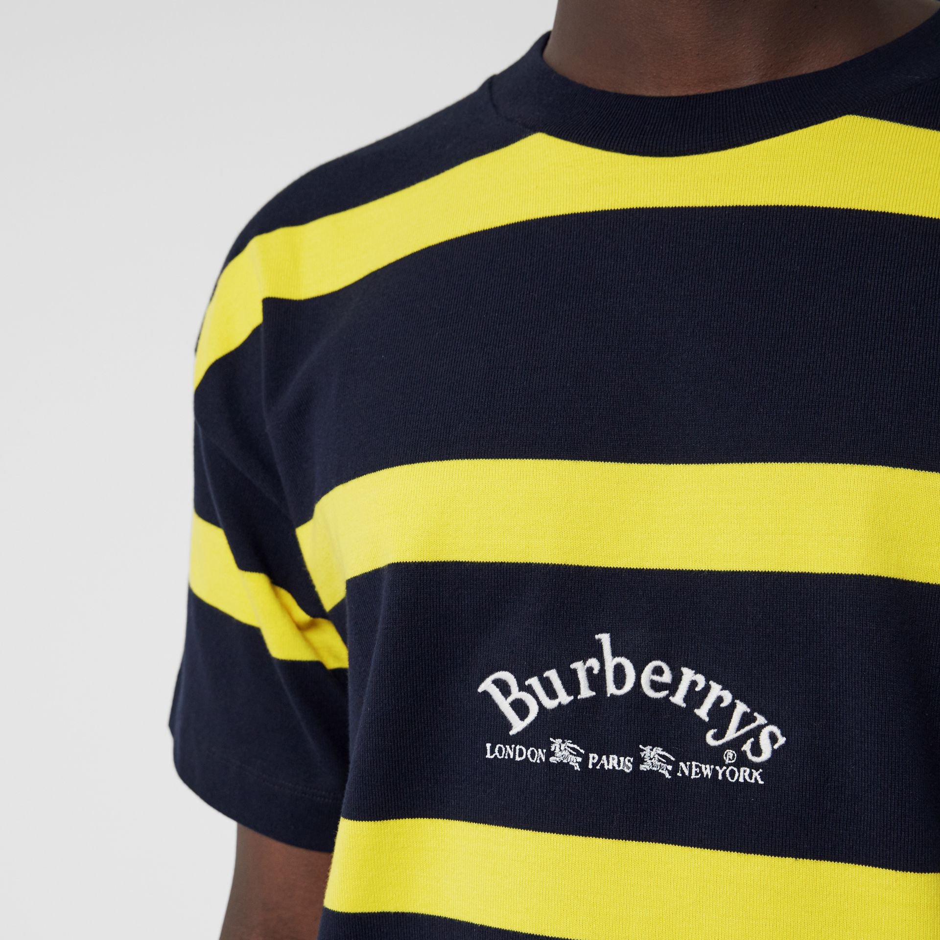 Embroidered Archive Logo Striped Cotton T-shirt in Navy - Men | Burberry Hong Kong - gallery image 1